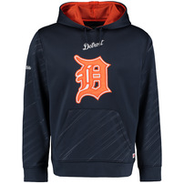 Detroit Tigers Stitches Pullover Fleece Hoodie with Contrast Hood - Navy