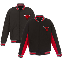 Chicago Bulls JH Design Reversible Wool & Poly-Twill Full-Snap Jacket – Black/Red