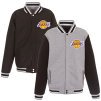 Los Angeles Lakers JH Design Embroidered Logo Reversible Fleece Full-Snap Jacket – Gray/Black