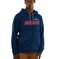 New England Patriots Majestic Game Elite Synthetic Full-Zip Hoodie - Navy