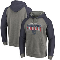 New York Rangers Fanatics Branded Freedom Tri-Blend Raglan Pullover Hoodie – Heathered Gray/Heathered Navy