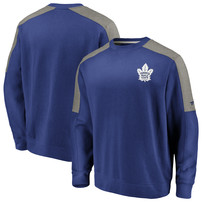 Toronto Maple Leafs Fanatics Branded Iconic Crew Fleece Sweatshirt – Blue/Heathered Gray