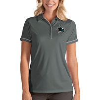 San Jose Sharks Antigua Women's Salute Polo - Gray/White