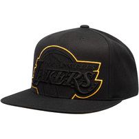 Los Angeles Lakers Mitchell & Ness Cropped XL Adjustable Snapback Hat - Black
