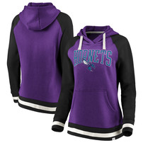 Charlotte Hornets Fanatics Branded Women's True Classic Vintage Retro Stripe Raglan Fleece Pullover Hoodie – Purple/Black