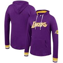 Los Angeles Lakers Mitchell & Ness Striped Cuff Pullover Hoodie – Purple