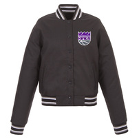 Sacramento Kings JH Design Women's Poly-Twill Full-Snap Jacket – Charcoal