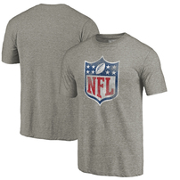 NFL Pro Line by Fanatics Branded NFL Shield Distressed Team Primary Logo Tri-Blend Raglan T-shirt – Gray
