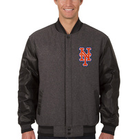 New York Mets JH Design Wool & Leather Reversible Jacket – Charcoal/Black