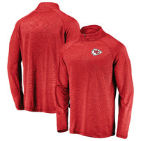 Kansas City Chiefs NFL Pro Line by Fanatics Branded Iconic Striated Primary Logo Quarter-Zip Pullover Jacket – Red