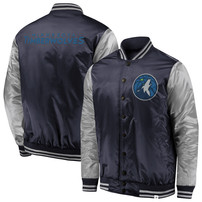 Minnesota Timberwolves Fanatics Branded Iconic Tackle Twill Satin Jacket – Navy/Silver