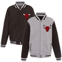 Chicago Bulls JH Design Embroidered Logo Reversible Fleece Full-Snap Jacket – Gray/Black