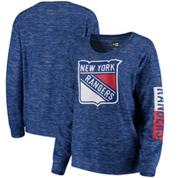 New York Rangers 5th & Ocean by New Era Women's Space Dye Brushed Tri-Blend Knit Sweater - Royal