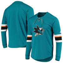 San Jose Sharks adidas Platinum Long Sleeve Jersey T-Shirt – Teal
