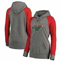 Minnesota Wild Fanatics Branded Women's Plus Sizes Team Distressed Pullover Hoodie - Heathered Gray