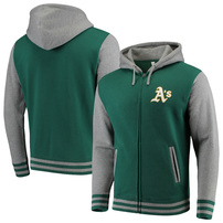 Oakland Athletics Majestic Iconic Full-Zip Hoodie - Green/Gray