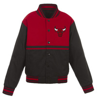 Chicago Bulls JH Design Youth Poly-Twill Full-Snap Jacket – Black/Red