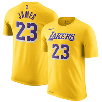 LeBron James Los Angeles Lakers Nike Icon Edition 2018/19 Name & Number Performance T-Shirt – Gold