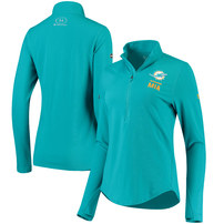 Miami Dolphins Under Armour Women's Combine Authentic Favorites Half-Zip Pullover Performance Jacket - Aqua