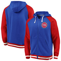 Detroit Pistons Fanatics Branded True Classic Vintage Retro Stripe Fleece Full-Zip Hoodie – Blue/Red