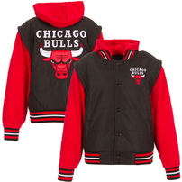 Chicago Bulls JH Design Youth Fleece-Nylon Hooded Jacket - Black