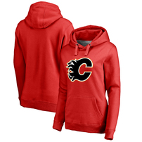 Calgary Flames Women's Primary Logo Plus Size Pullover Hoodie - Red