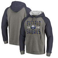 Buffalo Sabres Fanatics Branded Timeless Collection Antique Stack Tri-Blend Raglan Pullover Hoodie - Ash