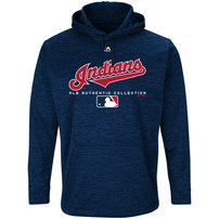 Cleveland Indians Majestic Authentic Collection Team Drive Ultra-Streak Fleece Pullover Hoodie – Navy