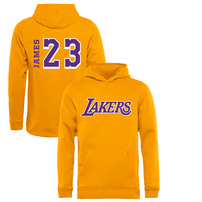 LeBron James Los Angeles Lakers Fanatics Branded Youth Sidesweep Name & Number Pullover Hoodie – Gold