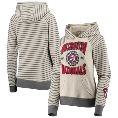 Washington Nationals Soft as a Grape Women's Striped Pullover Hoodie – Oatmeal