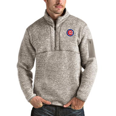Chicago Cubs Antigua Fortune Quarter-Zip Pullover Jacket - Oatmeal
