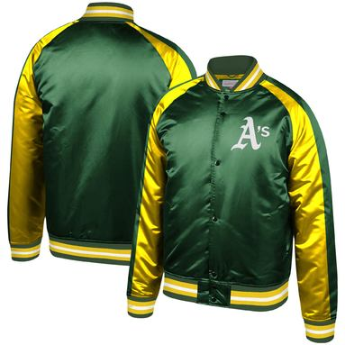 Oakland Athletics Mitchell & Ness Colorblocked Full-Snap Raglan Jacket – Green