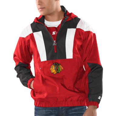 Chicago Blackhawks Striker Hooded Half-Zip Jacket – Red