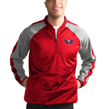 Washington Capitals G-III Sports by Carl Banks Fast Track Raglan Half-Zip Pullover Jacket – Red/Heathered Gray