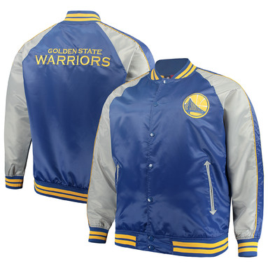 Golden State Warriors Majestic Big & Tall Lightweight Satin Full-Snap Jacket – Royal