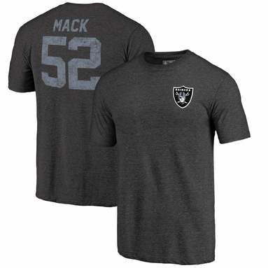 Khalil Mack Oakland Raiders NFL Pro Line by Fanatics Branded Icon Tri-Blend Player Name & Number T-Shirt - Black