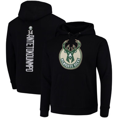 Giannis Antetokounmpo Milwaukee Bucks Fanatics Branded Backer Name & Number Pullover Hoodie - Black