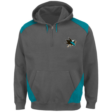 San Jose Sharks Majestic Big & Tall Quarter-Zip Pullover Hoodie Jacket – Charcoal/Teal