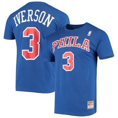 Allen Iverson Philadelphia 76ers Mitchell & Ness Hardwood Classics Name & Number Player T-Shirt - Royal