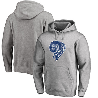 Los Angeles Rams NFL Pro Line Throwback Logo Pullover Hoodie - Gray