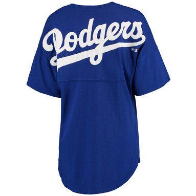 Los Angeles Dodgers Women's Oversized Spirit Jersey V-Neck T-Shirt - Royal