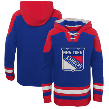 New York Rangers Youth Ageless Lace-Up Pullover Hoodie - Blue/Red