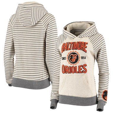 Baltimore Orioles Soft as a Grape Women's Striped Pullover Hoodie - Oatmeal