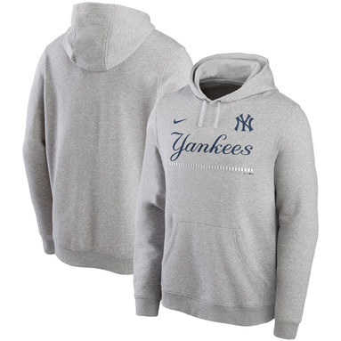 New York Yankees Nike Color Bar Club Pullover Hoodie - Gray