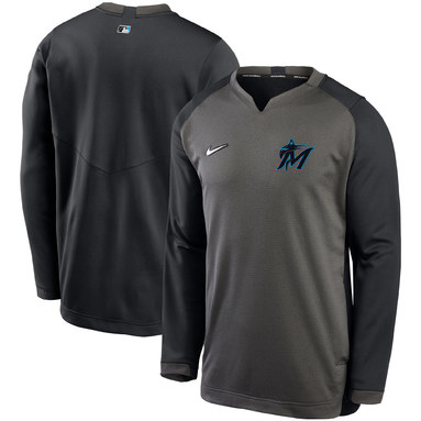 Miami Marlins Nike Authentic Collection Thermal Crew Performance Pullover Sweatshirt - Charcoal/Black