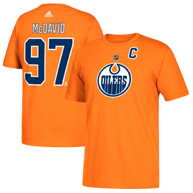 Connor McDavid Edmonton Oilers adidas Name & Number T-Shirt – Orange