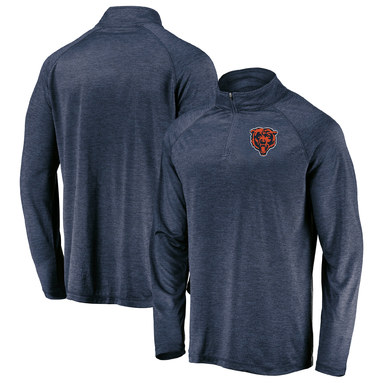 Chicago Bears NFL Pro Line by Fanatics Branded Iconic Striated Primary Logo Quarter-Zip Pullover Jacket – Navy