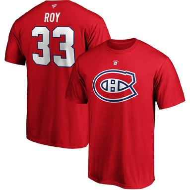 Patrick Roy Montreal Canadiens Fanatics Branded Authentic Stack Retired Player Name & Number T-Shirt - Red