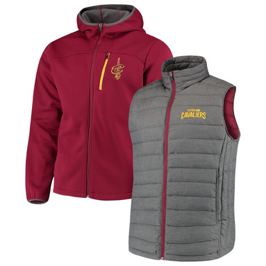 Cleveland Cavaliers G-III Sports by Carl Banks Cold Front 3-In-1 System Full-Zip Vest & Jacket Set - Wine