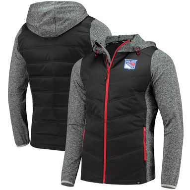 New York Rangers Fanatics Branded Static Insulated Full-Zip Jacket - Black/Heathered Gray